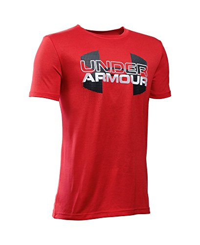 Under Armour Boys' Tech Big Logo Hybrid T-Shirt, Red (602), Youth Small