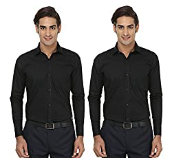 FOCIL Black Formal Wear Combo Shirt For Men (Pack of 2)