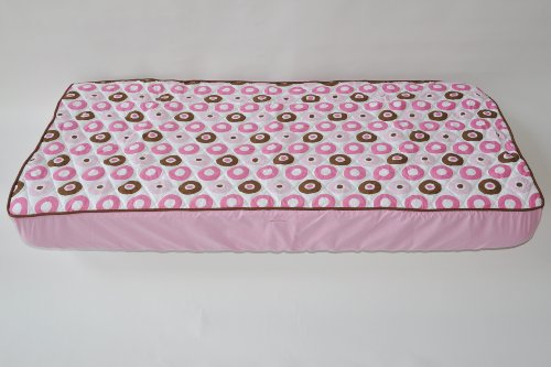 Mod Dots/Strps Pink Quilted Top Crib Fitted Sheet