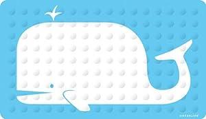 Kikkerland Whale Natural Rubber High Grip Suction Cup Bath Mat,