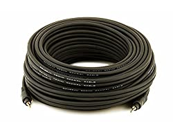 50ft Premium 3.5mm Stereo Male to 3.5mm Stereo Male 22AWG Cable (Gold Plated) - Black