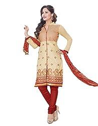 RK Fashion Womens Cotton Un-Stitched Salwar Suit Dupatta Material ( MITTAL-SANAM-7020-Beige-Free Size )