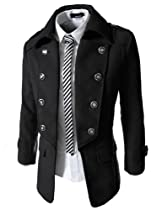 TheLees Mens double breasted 2 way wool jacket Black XX-Large(US X-Large)