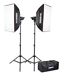 StudioPRO Double 300W/s Monolight Photography Photo Studio Strobe Lighting Two 150W/s Monolights with Softbox Equipment Bag Kit
