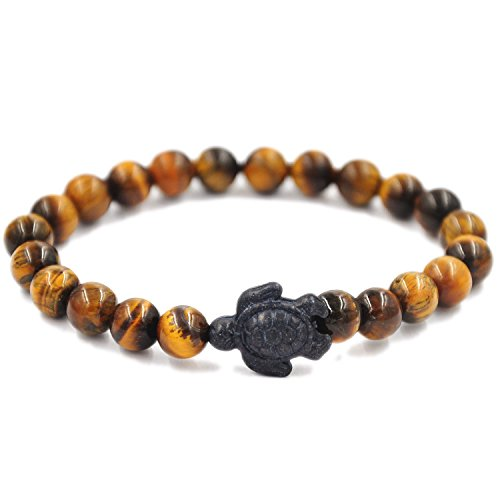 Liuanan Turtle energy Lucky Bracelet Natural Gemstone Turtle Healling Bracelet (Tiger eye)