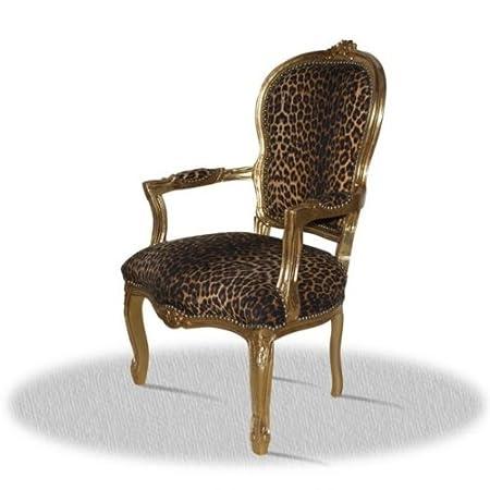 Barock Sessel Blatt gold Bezug Leopard