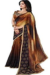 Ambica women faux chiffon shaded print saree(Amb-4220_brown_Freesize)