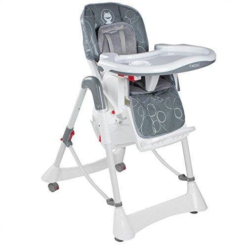 Froggy-Baby-Kinder-Hochstuhl-mit-Sicherheitsgurt-und-Groem-Esstisch-Hhenverstellbar-Zusammenklappbar-Bubbles