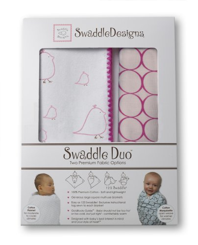SwaddleDesigns SwaddleDuo Chickies with Jewel Tone Mod Circle Duo, Very Berry