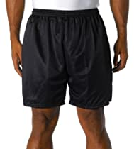 A4 N5293 Adult 7-Inch Lined Tricot Mesh Shorts - Black - L