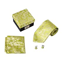 DS1039 Green Paisley Design Tie Cufflinks Hanky Matching Same Fabric Box Set