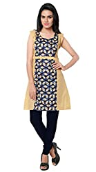 Women Icon Presents Printed Stitched Kurti WICKFCBR09S ( Blue & Beige )