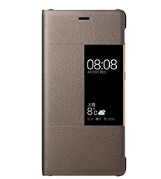 Huawei Ascend P9 Case, Premium Leather Cover with View Window Protective Smartphone Flip Cover Folio Case (Ultra Thin Slim)(Perfect Fit) by Grand Eletronics(Brown)