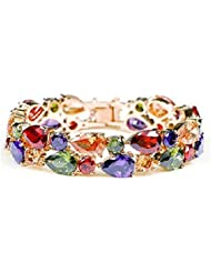 Jewels Galaxy Luxuria Sparkling Colors Vine AAA Swiss Cubic Zirconia 18K Gold Plated Sparkling Bracelet For Women