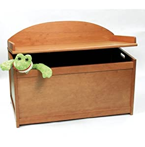 child 39 s wooden toy box chest pecan finish childrens storage furniture baby. Black Bedroom Furniture Sets. Home Design Ideas