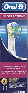 Oral-B FLOSS Action Tooth Brush Heads Replacement 3 Pack Braun