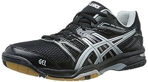 ASICS Women's Gel Rocket 7 Volley Ball Shoe,Black/Silver,11 M US