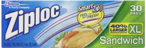 Bolsas Ziploc para Sandwich XI, paquete de 3 con 30 bolsas cada una