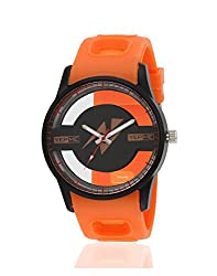 Yepme Men's Transparent Analog Watch - Black/Orange -- YPMWATCH3166