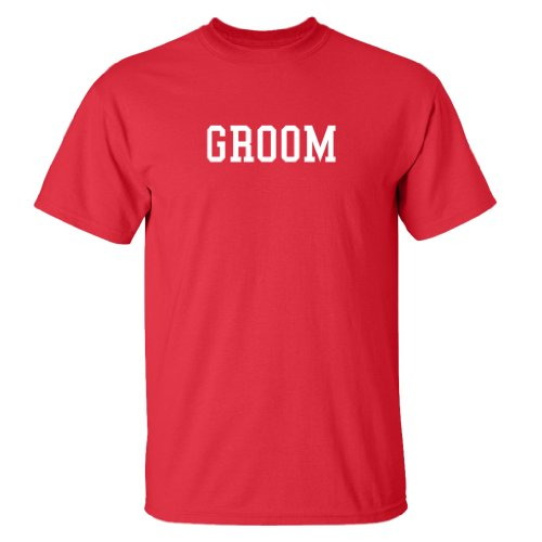 Two In Love! Wedding Party Shirts &#8211; Groom &#8211; Short Sleeve Adult T-Shirt (Red, XL)