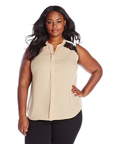 Vince Camuto Plus Women's Sleeveless Blouse with Lace Insets