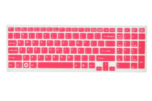 Silicone Laptop Keyboard Minder Skin Cover for Sony Vaio Pcg-61511T, E15, S15, F219, F24, EB, EE, EH, EL, CB, SE, Series 15.5 inch With Figure up Pad on the right US Layout (Pink Semitransparent)