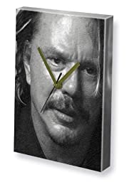 MICKEY ROURKE - Canvas Clock (LARGE A3 - Signed by the Artist) #js001