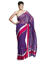Regal Purple Chanderi Saree With Zari & Pink Striped Border And Bold Floral Motifs