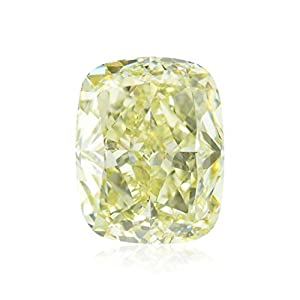 2.56Cts W-X, Light Yellow Loose Diamond Natural Color Cushion Shape GIA Cert