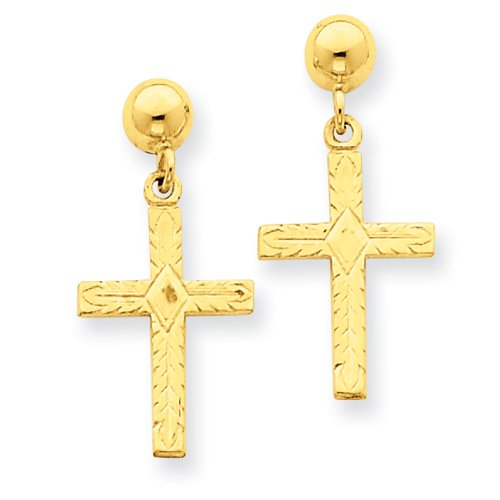 14k Polished and Textured Cross Earrings