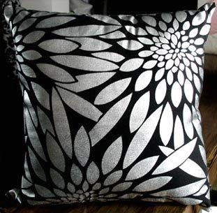 ElleWeiDeco Black Silver Foil Leaf Throw Pillow Cover