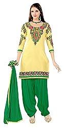 Rahi Women's Cotton Salwar Suit Material (Yellow and Green)