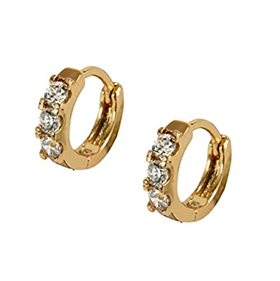 Childrens Young Girls Tiny 18ct Gold Filled Hoop Earrings White Crystals Kids 10mm 18K GF