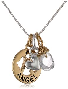 """Two-Tone Sterling Silver with Yellow Gold Flashed """"Angel"""" Charm Necklace with Heart Charm and Crystal, 18"""""""
