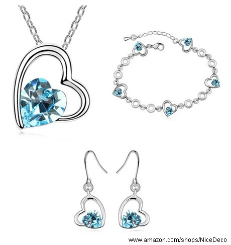 Nicedeco Je-Sw-Tz011-Seablue,Swarovski Elements Austrian Crystal Jewelry Sets,My Heart Will Go On,Necklace,Bracelet,And Earring(3-Piece Set),Elegant Style And Exquisite Craftsmanship