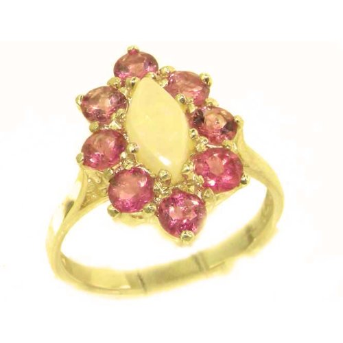 Luxury Ladies Solid British 14K Yellow Gold Natural Opal & Pink Tourmaline Cluster Ring - Size 9.75 - Finger Sizes 5 to 12 Available - Perfect Gift for Birthday, Christmas, Valentines Day, Mothers Day, Mom, Mother, Grandmother, Daughter, Graduation, Bridesmaid.