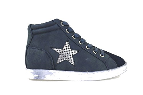 LULU' sneakers bambina blu pelle / camoscio AH231 (33 EU)