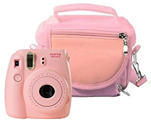 Travel Bag Carry Case for Fuji Instax Mini 8/ Mini 90 (Room for Spare Film / Accessories and more) - Pink