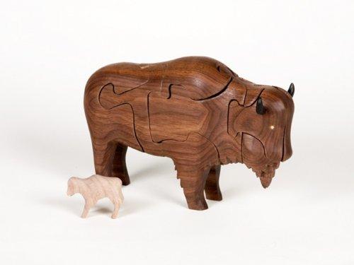 Cheap Class Menagerie Wooden 3-D Puzzle – Buffalo with Baby Buffalo Inside, Walnut (B002GD9WGW)