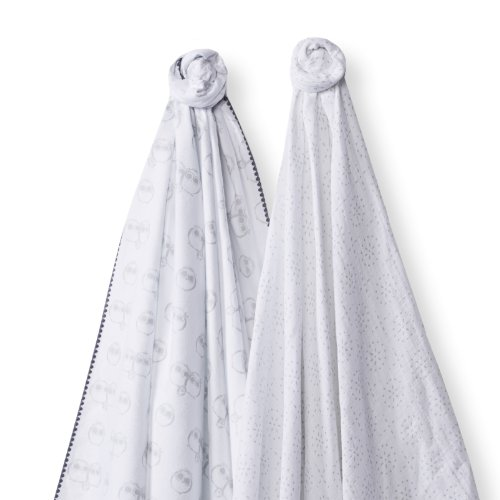 SwaddleDesigns SwaddleDuo, Owls and Sparklers Duo (Set of 2 in Sterling)