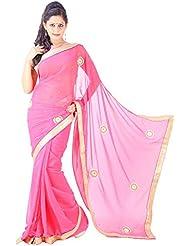Archiecs Creations Adorning Jaipuri Moti Work Chiffon Saree (With Blouse Piece)