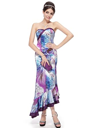 Ever Pretty Exquisite Strapless Floral Print Fishtail Formal Long Prom Gown 09411, HE09411PP08, Multiple(purple), 6US