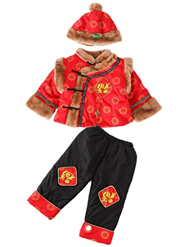 AvaCostume Chinese Boy's Winter Tang 3 Piece Set Outfit Costume