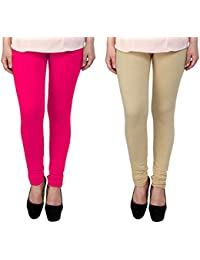 Snoogg Womens Ethnic Chic Inspired Churidar Leggings In Pink And Beige