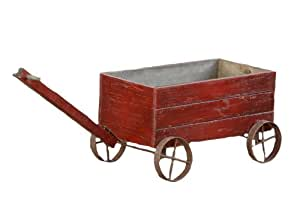 Your Heart's Delight Your Hearts Delight Wooden Cart with Metal Wheels, 16 1/4 by 8 1/2 by 9 1/2 Inch, Distressed Burgund