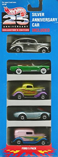 Mattel Hot Wheels 25th Anniversary Collector's Edition Ford 5 Pack w/Anniversary Car