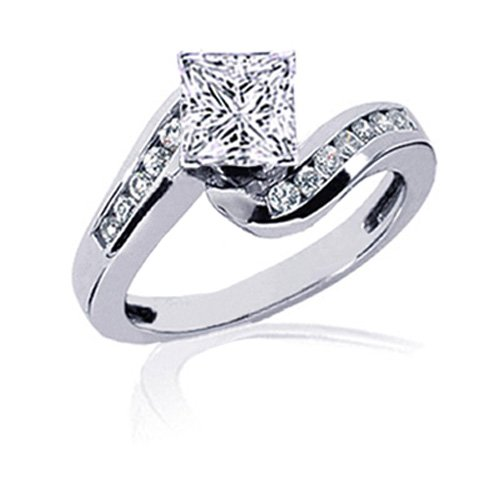 1.3 Ct Princess Cut Diamond Engagement Ring Channel