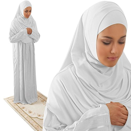 Amade Muslim Women's One-piece Prayer Dress Abaya Set (Medium (12-18