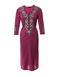 Azra Jamil Fine Cotton Pink Sequined Hand Work Traditional Kurti For Women