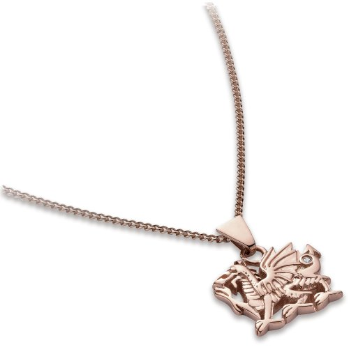 Diamond Welsh Dragon Pendant Necklace, 9ct Rose Gold Curb Chain, 46cm Length, 0.01 Carat Diamond Weight, VS Diamond Clarity, Model D001, by Clogau Gold